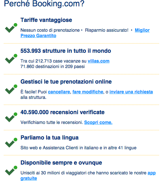 La selling proposition completa di booking.com