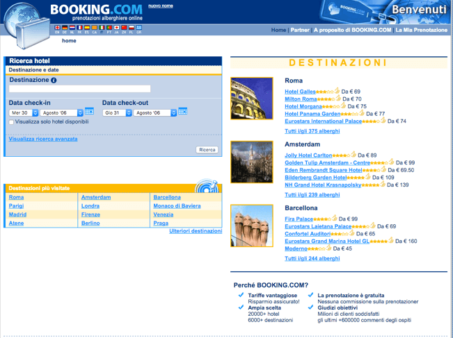 Booking.com nel 2006