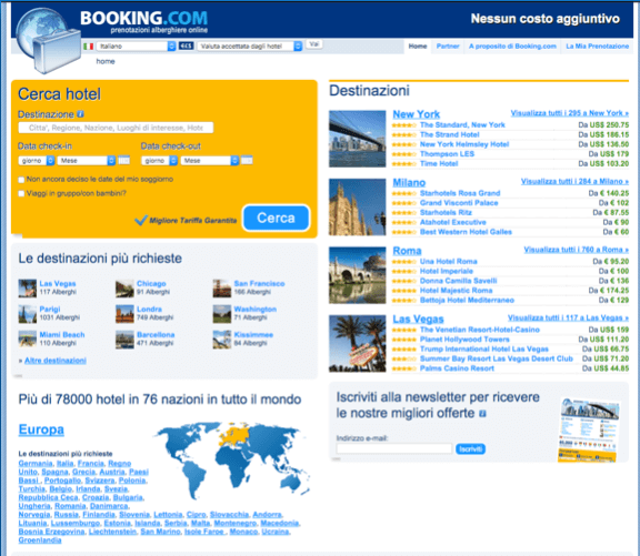 Booking.com nel 2010