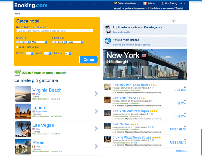 Booking.com nel 2012