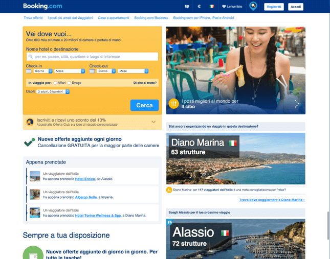 Booking.com nel 2016